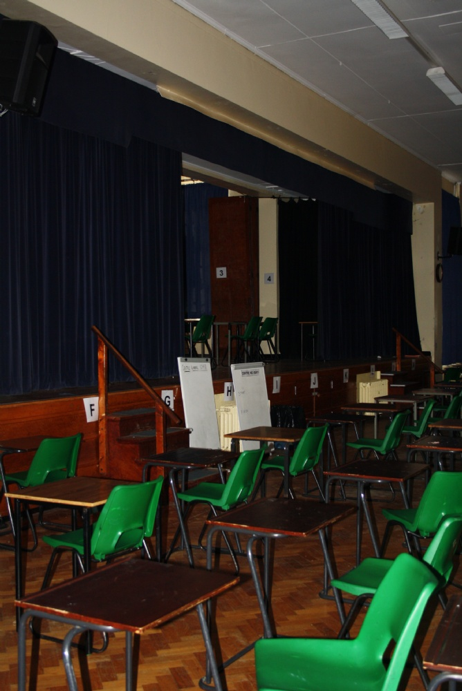 Last use of the old school hall, for examinations in 2014 some 87 years after the school's opening in 1927