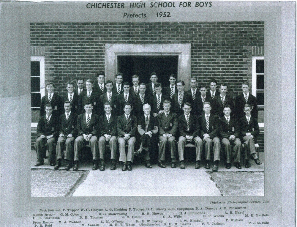 Prefects with Dr Bishop 1952