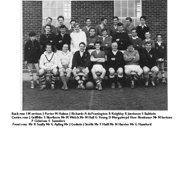 Staff versus Prefects 1962 Soccer